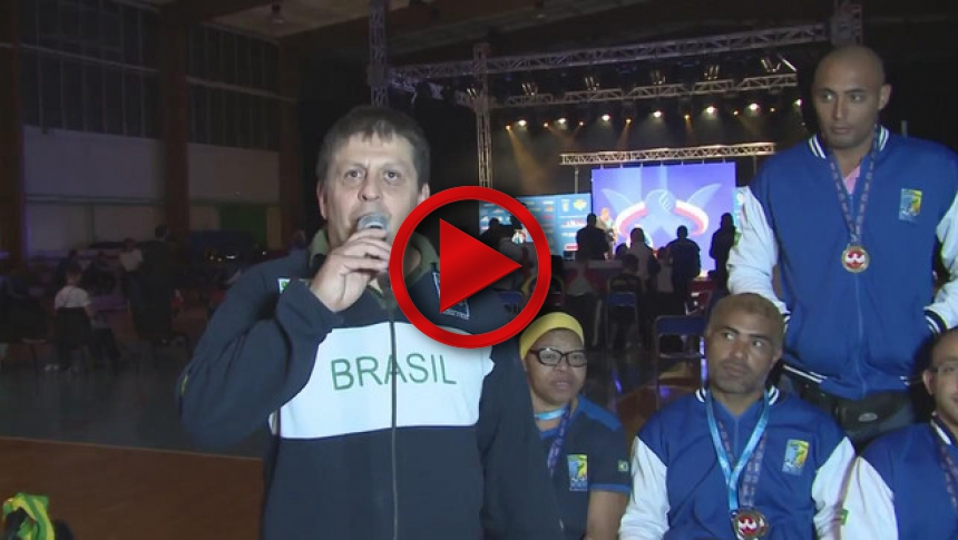 Brasilian team on I World Armwrestling Championship for Deaf & Disabled 2014, Puck # Armbets.tv